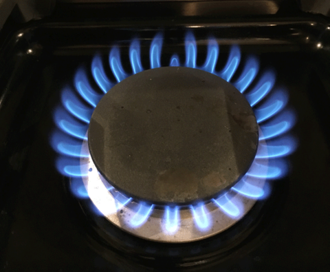 A stove burner showing a natural gas flame