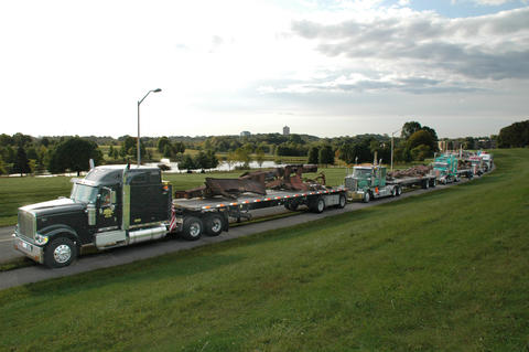A truck returning steel recovered the the World Trade Center towers returned to the Port Authority of New York and New Jersey.