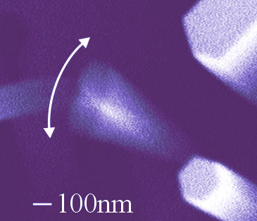 "Electron micrograph of a NIST-grown nanowire with a high ""quality factor"" vibrating more than 1 million times per second."