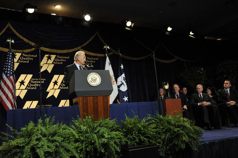 Vice President Biden addresses the audience at the ceremony for the 2008 Baldrige award winners.