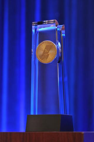 Photo of Baldrige Award Crystal on Stage at April 2015 Ceremony
