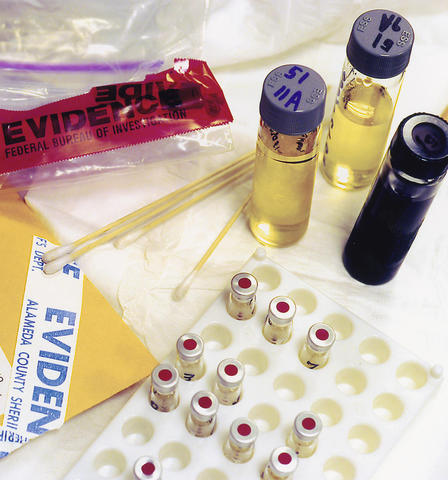 Test tubes, evidence bags, etc., from a forensics laboratory