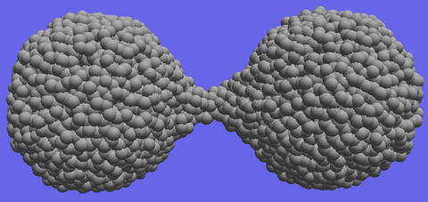 Computer simulations demonstrate the material extension and necking that occurs during the separation of amorphous silica nanoparticles.