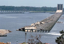 Photo of a bridge in Mississippi destroyed by Hurricane Katrina.
