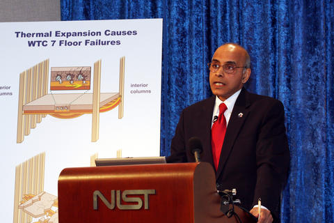 Dr. Shyam Sunder, NIST lead investigator, answers questions at a news briefing on August 21, 2008, about NIST's three-year study of the collapse of World Trade Center 7.
