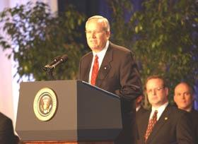 Charles L. Korbell, president and chief executive officer, Clarke American Checks, Inc., speaking at the Malcolm Baldrige National Quality Award ceremony.