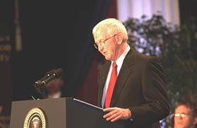 Charles W. Sorensen, chancellor, University of Wisconsin-Stout, speaking at the Malcolm Baldrige National Quality Award ceremony.