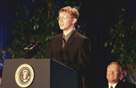 Nathaniel Moore, Chugach School District student, speaking at the Malcolm Baldrige National Quality Award ceremony.