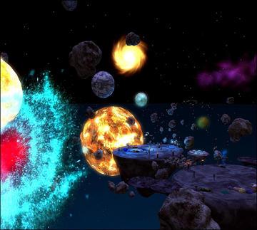 Crashing planets illustration