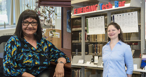 The Research Library's Nune Atyan (Crittenden Awardee) and Stacy Bruss (Bronze Medal Awardee)