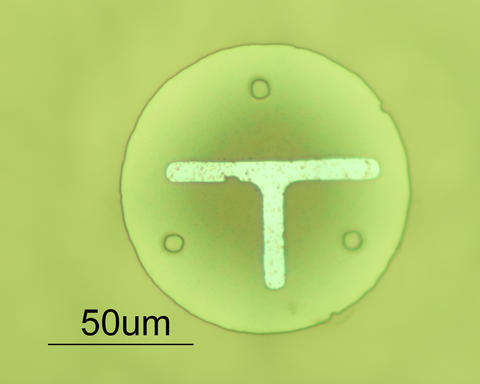 This is a silicon dioxide disk (top view) about the diameter of a human hair (100 µm) that can be pushed across the Nanogram Soccer field of play by the nanosoccer robots.