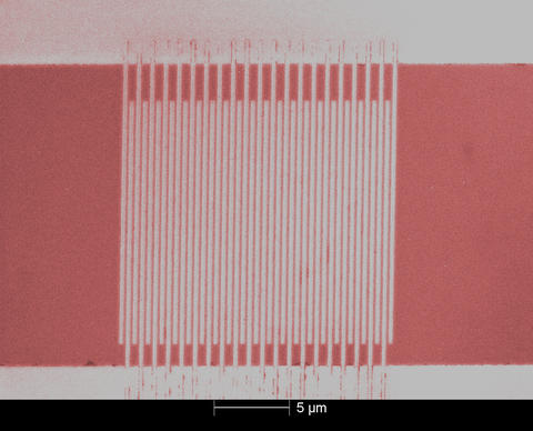 Colorized micrograph of ultrafast single-photon detector