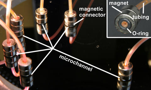 Photograph showing the use of the NIST magnetic connectors with a microfluidic device designed to generate liposomes.