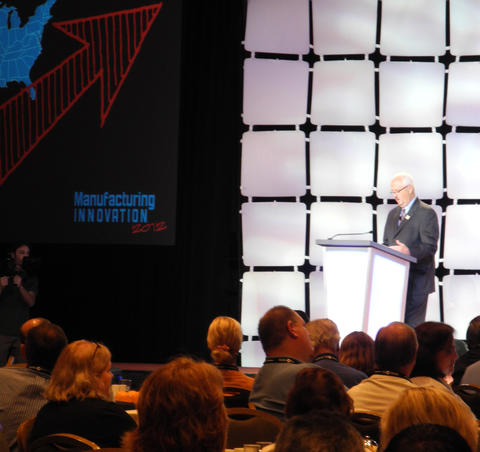Roger Kilmber speaking at the Manufacturing Innovation 2012 conference