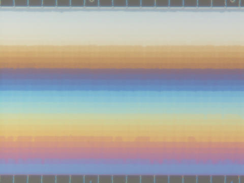 Overhead view of the NIST-Cornell 3-D nanofluidic device showing the different depth levels within the chamber as horizontal bands.