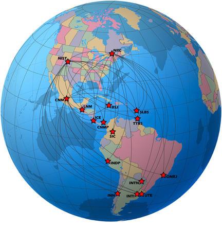 Globe showing the 16 member countries of the Sistema Interamericano de Metrologia (SIM) Time Network