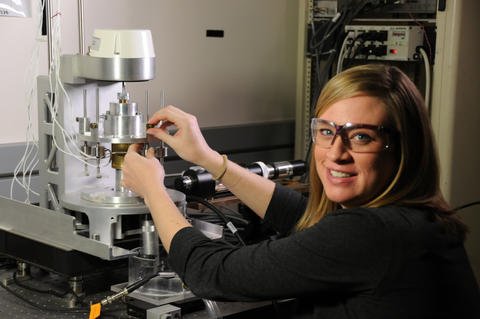 Biomedical engineer Jenni Popp with NIST's prototype bioreactor for tissue engineering.
