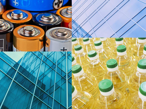 Collage of photos: Battery acid, plastic containers and windowpanes