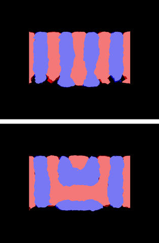 Computer simulations of two possible morphologies of a block copolymer film