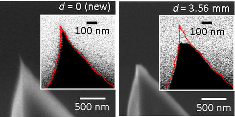 Images showing the degradation of an atomic force microscope tip