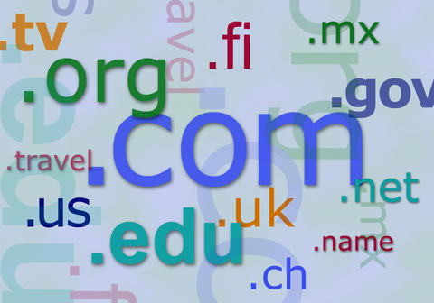 Photo collage of internet top-level domain names.
