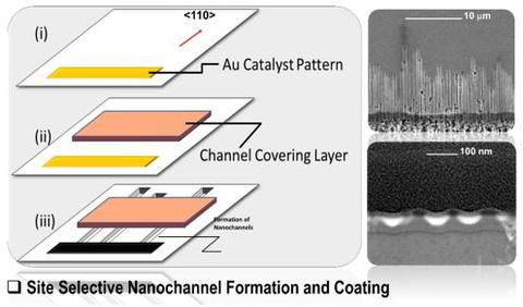 Site selective nanochannel formation and coating