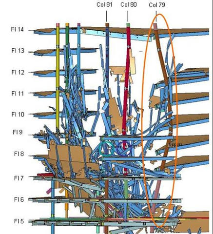 Graphic showing the buckling of WTC 7 Column 79