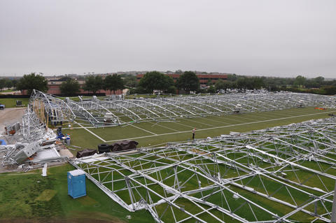 Overall view of the collapsed Dallas Cowboys practice facility after the fabric covering was removed.