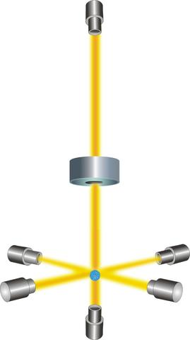FIGURE 1: A gas of cesium atoms enters the clock's vacuum chamber.