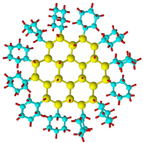 A structural model of a typical silicon nanocrystal stabilized within an organic shell of cyclohexane.