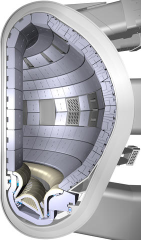 Engineering design image shows a cross-section of part of the planned ITER fusion reaction vessel.