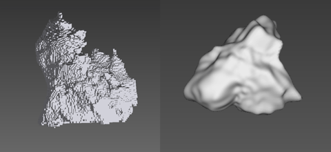 3D Image reconstructed from XRCT data of an (left) Apollo 11 lunar regolith particle, in voxel form, and (right) an Apollo 14 lunar regolith particle, represented by spherical harmonics. The white bar in both images is approximately 40 micrometers long.