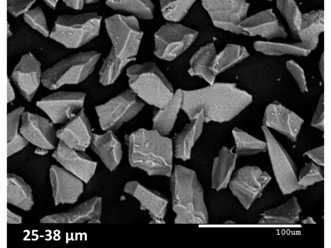 Scanning electron micrograph of crushed waste glass particles