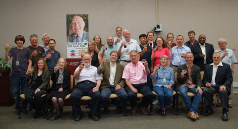 Colleagues at NIST raise a toast to John Cahn for being selected to receive the 2011 Kyoto Prize.