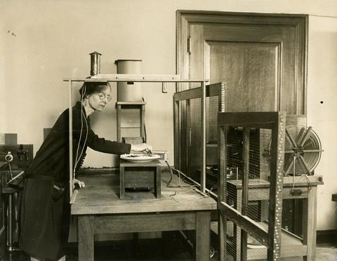 Professor Louise Sherwood McDowell in Wellesley College physics lab ca.1909-1920