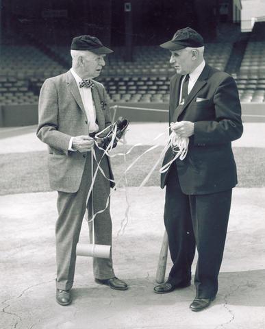 Lyman Briggs and Ossie Bluege, comptroller of the Washington Senators, at Griffith Stadium in 1959.