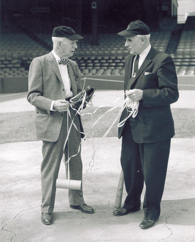 Lyman Briggs and Ossie Bluege, comptroller of the Washington Senators, at Griffith Stadium in 1959.