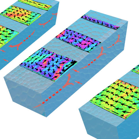 Strips of magnetic material sit atop blocks of a nonmagnetic heavy metal