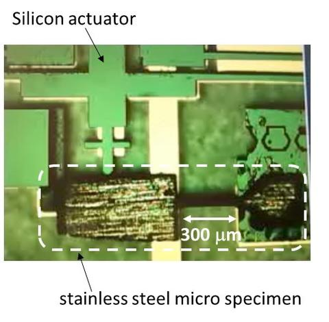Measuring the bending stiffness of stainless steel micro specimens.