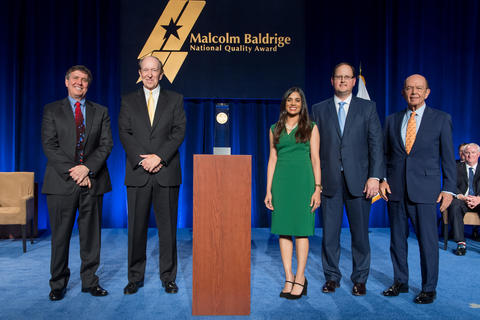 Photo of representatives from 2016 Baldrige winner Memorial Hermann with DOC and Baldrige representatives