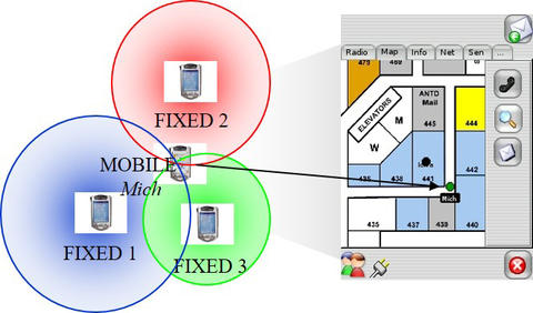 illustration with 3 mobile devices in circles pointing to a room location
