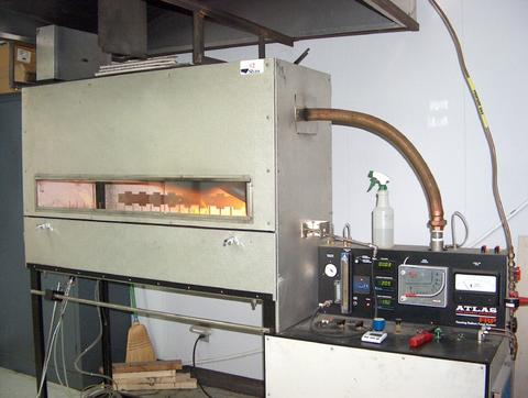 Radiant panel apparatus for flammability test for flooring which is used to predict how a floor covering might spread fire in a corridor during a fully developed fire.