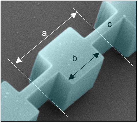 scanning electron micrograph of a single phononic-crystal cell
