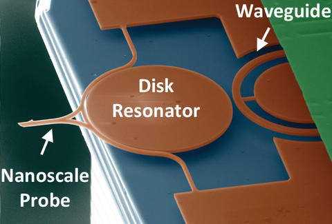 Orange disk resonator with waveguide to right and nanoscale probe to left.