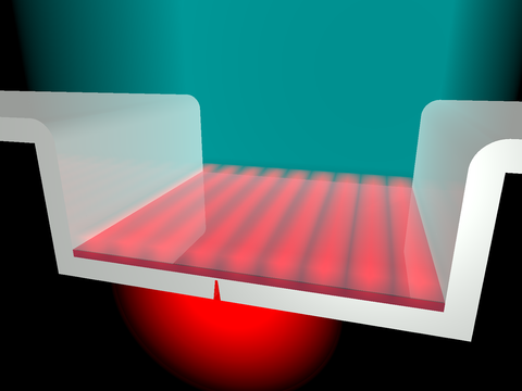 Cavity coating in flat red layer below blue-green light beam