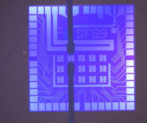 Purple square chip with Xs and the code SFS9 on it.