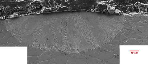 Secondary electron image of chemically etched cross section of a single 195 W and 800 mm/s laser track on an IN625 bare plate.