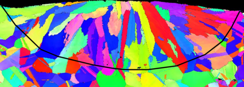 EBSD map of the same cross section shown in Figure 7. The black line shows the location of the melt pool boundary.