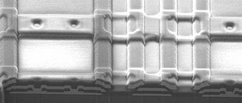 FIB cross section of a SQUID multiplexer integrated circuit