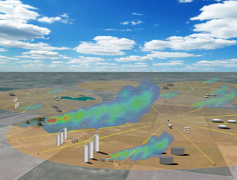 In this illustration, a gas well field has a circle on it. A dual-comb spectrometer at the center sends out laser light which bounces off mirrors, goes through a gas cloud and returns to the spectrometer for analysis.